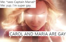 A shot from Captain Marvel overlaid with tweets about its queer subtext.