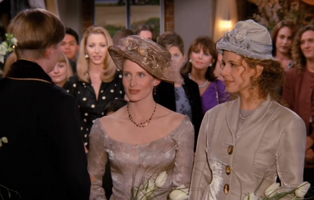 """A screenshot from the Friends episode """"The One with the Lesbian Wedding"""""""