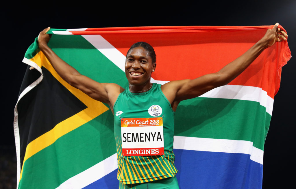 Caster Semenya of South Africa races to the line to win the Women's 800 meters during the IAAF Diamond League event at the Khalifa International Stadium on May 03, 2019 in Doha, Qatar.