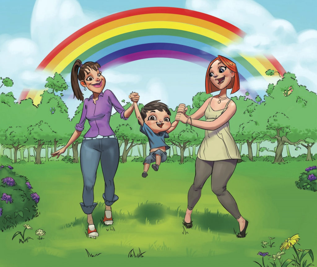 A drawing from picturebook 'My Rainbow Family' shows same-sex couples