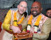 Vinodh Philip and Vincent Illaire celebrate their marriage with friends and family at a hotel reception on February 1 in Mumbai, after tying the knot in Illaire's homeland of France in December