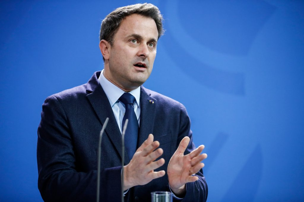 Luxembourg's Prime Minister Xavier Bettel attends a joint press conference with the German Chancellor at the chancellery in Berlin, on February 13, 2019.