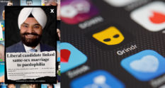 An advert of Gurpal Singh on a Grindr screen