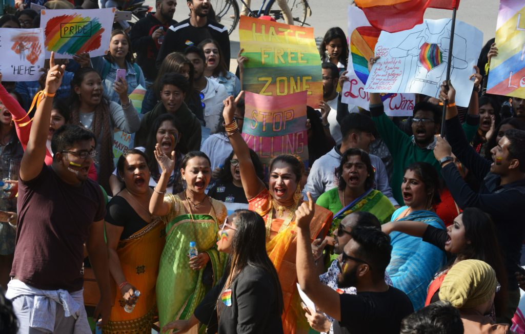 Indian activists and members of the lesbian, gay, bisexual, and transgender (LGBT) community take part in a pride parade in Siliguri on December 30 2018