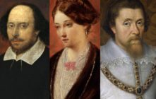 Portraits of historical LGBT+ figures William Shakespeare, Florence Nightingale and King James VI and I
