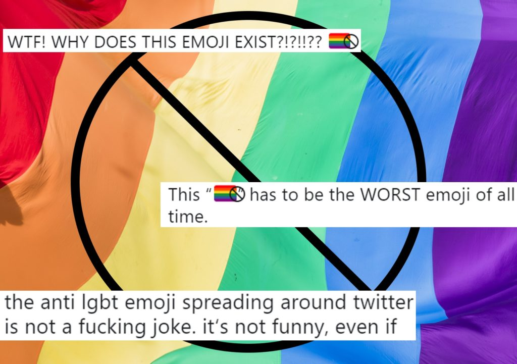 A Pride flag overlaid with tweets, some of which blame Apple for the new anti-LGBT emoji
