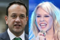 Leo Varadkar next to Kylie Minogue in a composite.