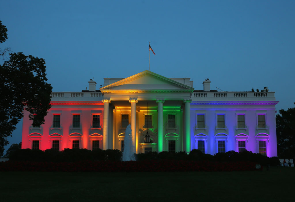 The White House lit up with rainbow lights