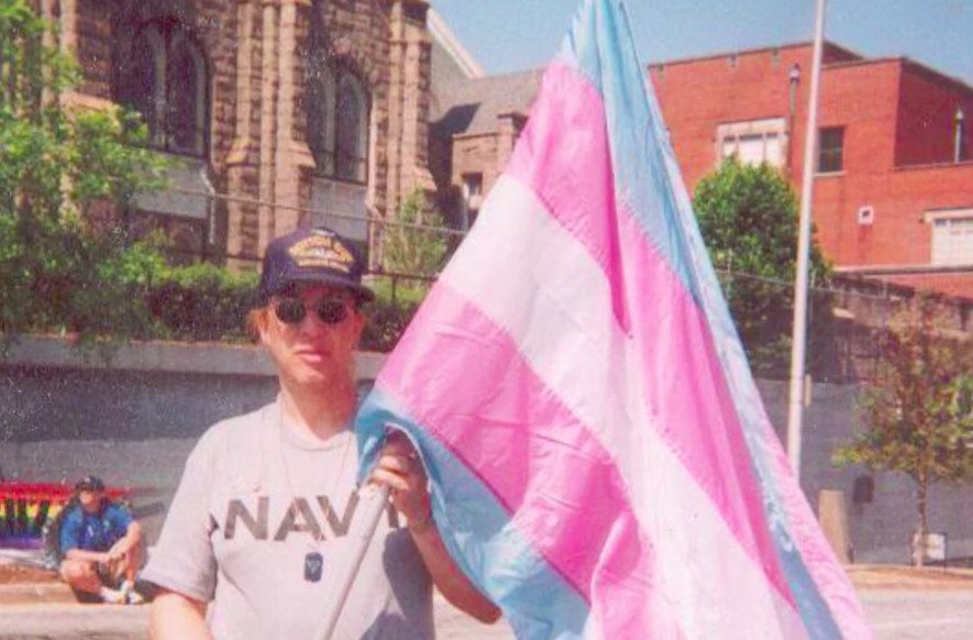 Helms with the original trangender flag