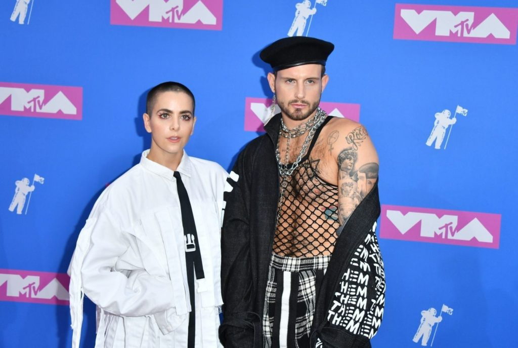 Musician Bethany Meyers and fiance US actor Nico Tortorella attend the 2018 MTV Video Music Awards at Radio City Music Hall on August 20, 2018 in New York City. (Photo by ANGELA WEISS / AFP) (Photo credit should read ANGELA WEISS/AFP/Getty Images)
