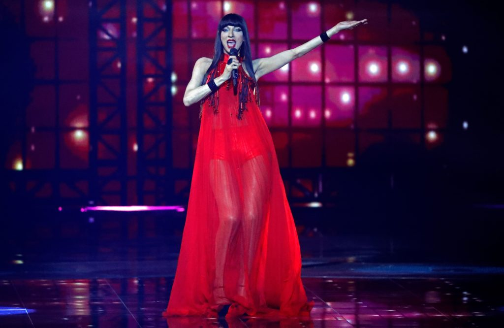 Israeli singer Dana International performs during the first semi-final of the 64th edition of the Eurovision Song Contest 2019 at Expo Tel Aviv on May 14, 2019, in the Israeli coastal city.