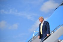 US President Donald Trump steps off Air Force One upon arrival at Joint Base Andrews in Maryland on June 19, 2019.