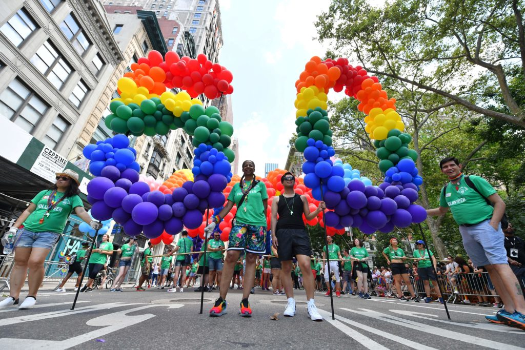 Rainbow balloons spellng out '50' at WorldPride NYC