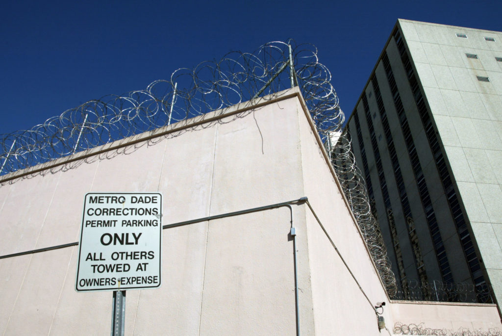 An exterior of Metro Dade Corrections is shown January 22, 2003 in Miami, Florida, where Fior Pichardo De Veloz was jailed in a cell with 40 other male inmates.