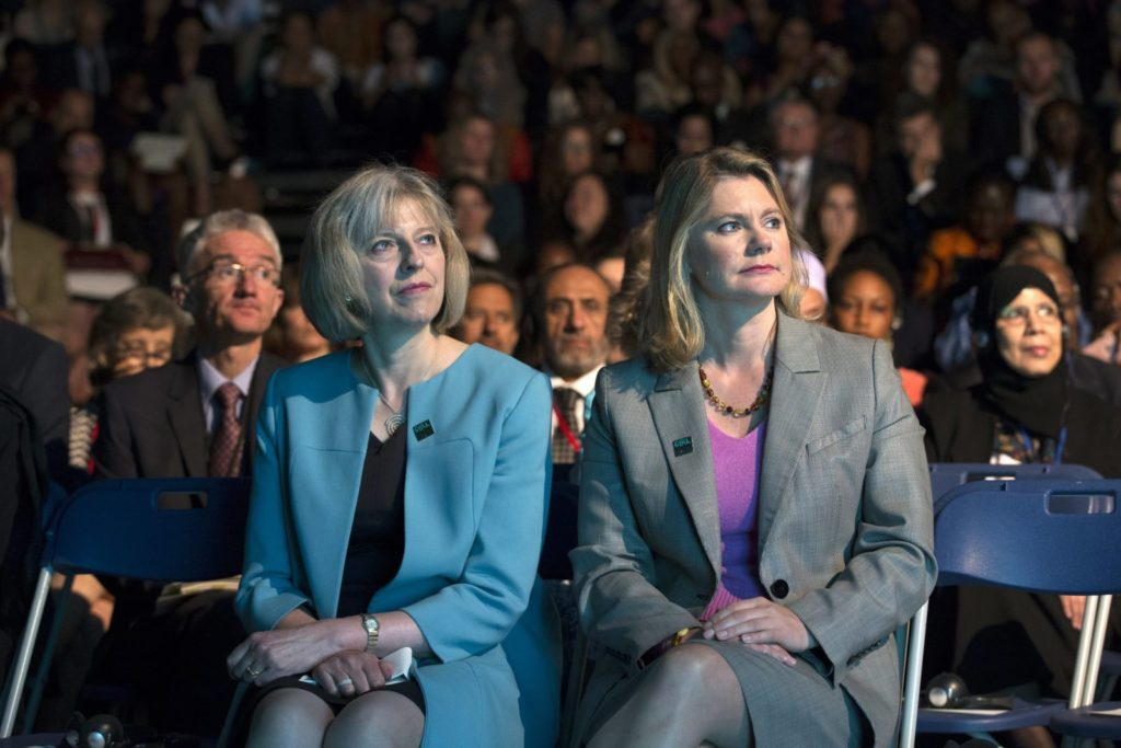Theresa May and Justine Greening (Photo by Oli Scarff/Getty Images)