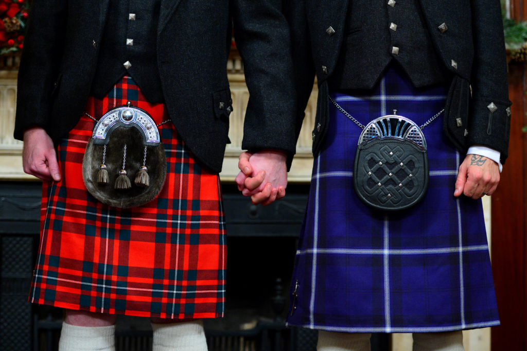 The first same-sex marriage in Scotland, which almost one in three Scottish men oppose.