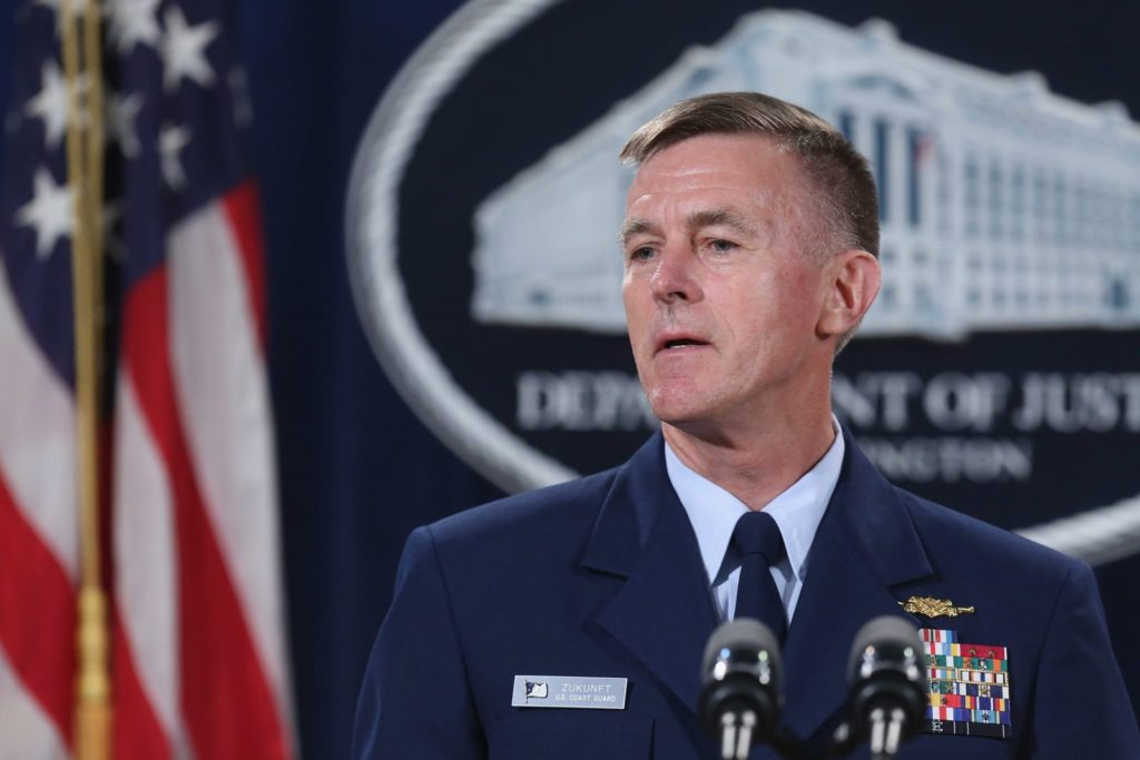 WASHINGTON, DC - OCTOBER 05: U.S. Coast Guard Commandant Admiral Paul Zukunft announces the resolution of federal and state claims against BP for the April 2010 Deepwater Horizon Oil Spill at the Robert F. Kennedy building October 5, 2015 in Washington, DC. The April 2010 Deepwater Horizon explosion killed 11 workers and spilled nearly 134 million gallons of oil into the Gulf of Mexico. According to settlements with the government, BP will pay about $20 billion in fines and penalties, natural restoration work, economic and other claims over an 18-year period. (Photo by Chip Somodevilla/Getty Images)