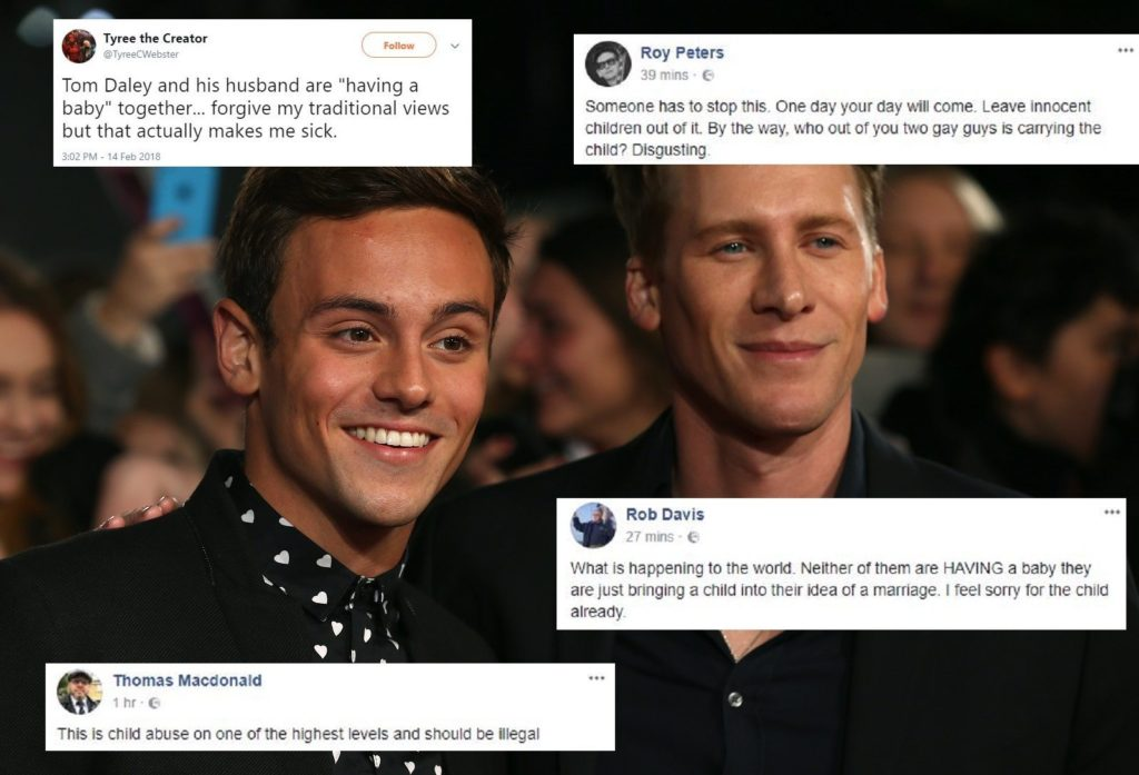 Tom Daley and Dustin Lance Black get horrific abuse over big baby news