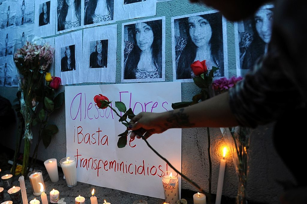 People light candles during a protest for the murdering of transgender woman Alessa Flores in Mexico City