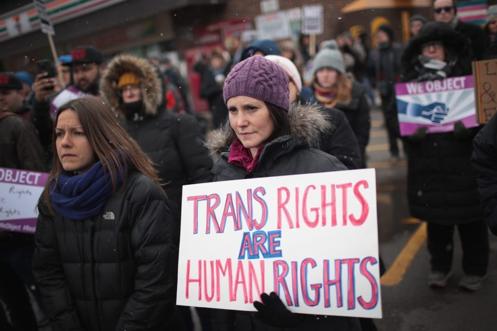 CHICAGO, IL - FEBRUARY 25: Demonstrators protest for transgender rights on February 25, 2017 in Chicago, Illinois. The demonstrators were angry with President Donald Trumps recent decision to reverse the Obama-era policy requiring public schools to allow transgender students to use the bathroom that corresponds with their gender identity. (Photo by Scott Olson/Getty Images)