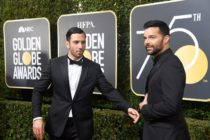 Ricky Martin (R) and Jwan Yosef attend The 75th Annual Golden Globe Awards (Photo by Frazer Harrison/Getty Images)