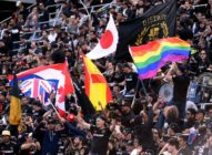 LOS ANGELES, CA - MAY 13: Fans fly the rainbow flag before the game between New York City and Los Angeles FC at Banc of California Stadium on May 13, 2018 in Los Angeles, California. (Photo by Harry How/Getty Images)