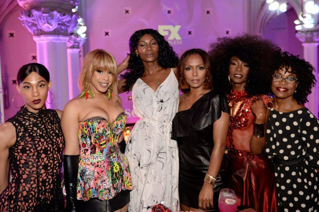 MJ Rodriguez, Hailie Sahar, Dominique Jackson, Janet Mock, Angelica Ross, and Charlayne Woodard at the FX 'Pose' Ball in Harlem on June 2, 2018 (Andrew Toth/Getty for FX Networks)