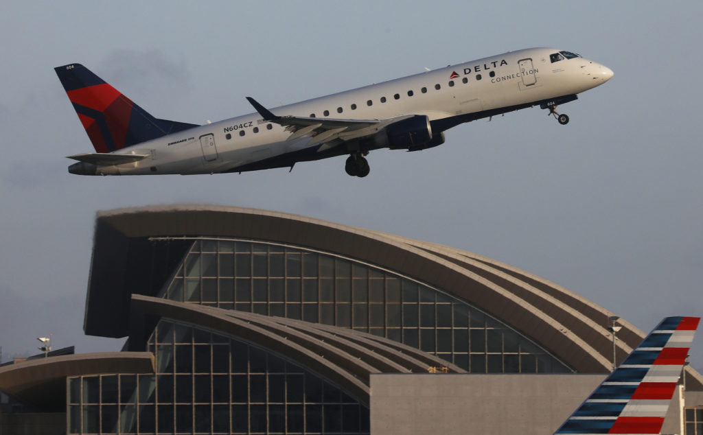 A Delta Airlines plane takes off from Los Angeles International Airport on July 12, 2018.
