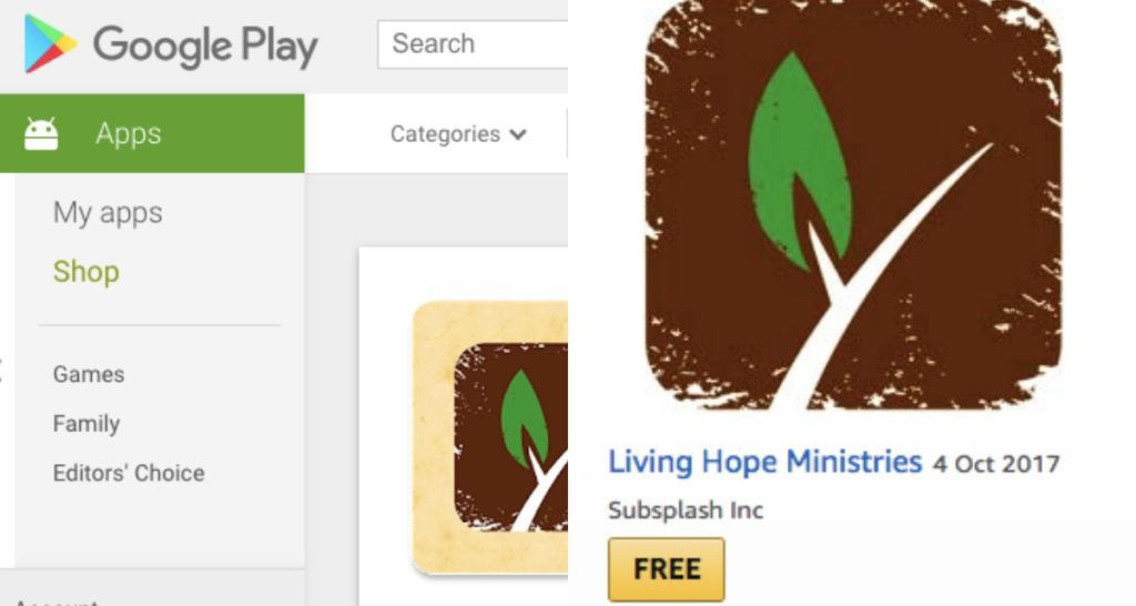 Google and Amazon's app stores: Living Hope Ministries app