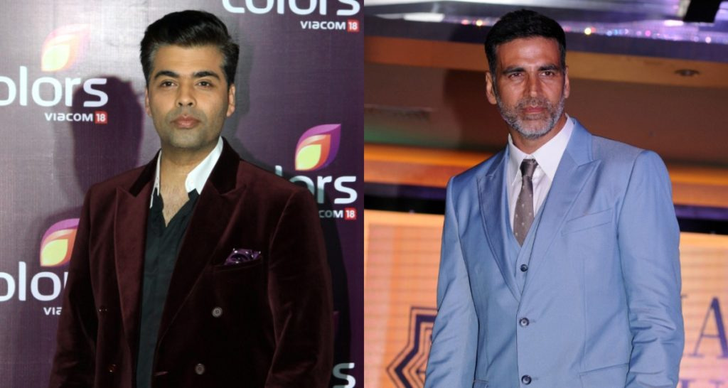 Karan Johar and Akshay Kumar celebrate Diwali in India.