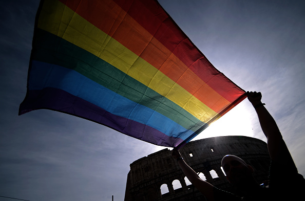 Italy and LGBT flag.