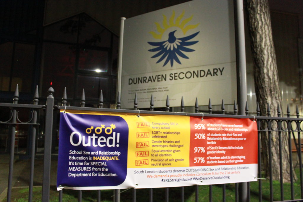 An Ofsted-style banner created by student activists to highlight how there is no compulsory LGBT sex education in English schools. (StraightJacket)