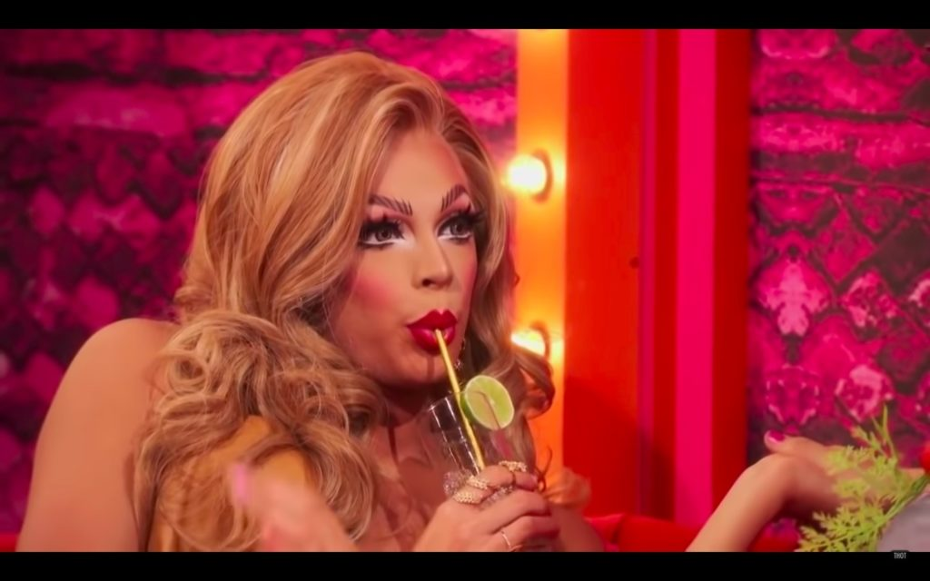 RuPaul's Drag Race All Stars 4 queen Valentina slurps her drinks as she awaits her fate