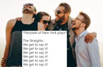 """A tweet about """"Fairytale of New York"""" set against a group of friends"""