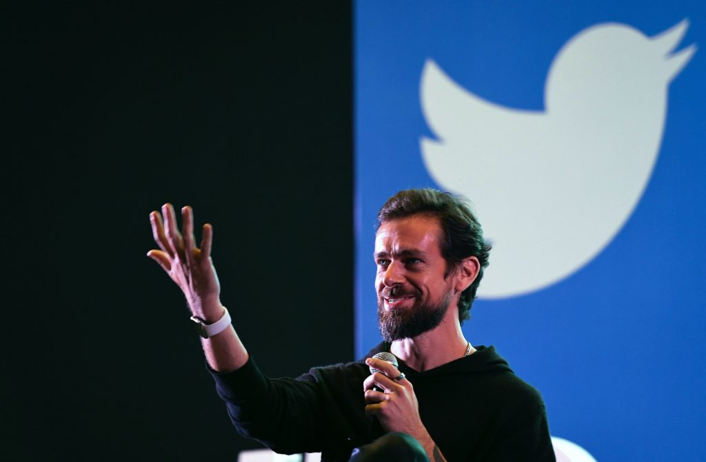 Twitter CEO and co-founder Jack Dorsey gestures while interacting with students at the Indian Institute of Technology in New Delhi