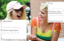 A photo of two women holding hands, overlaid with some examples of a gay meme