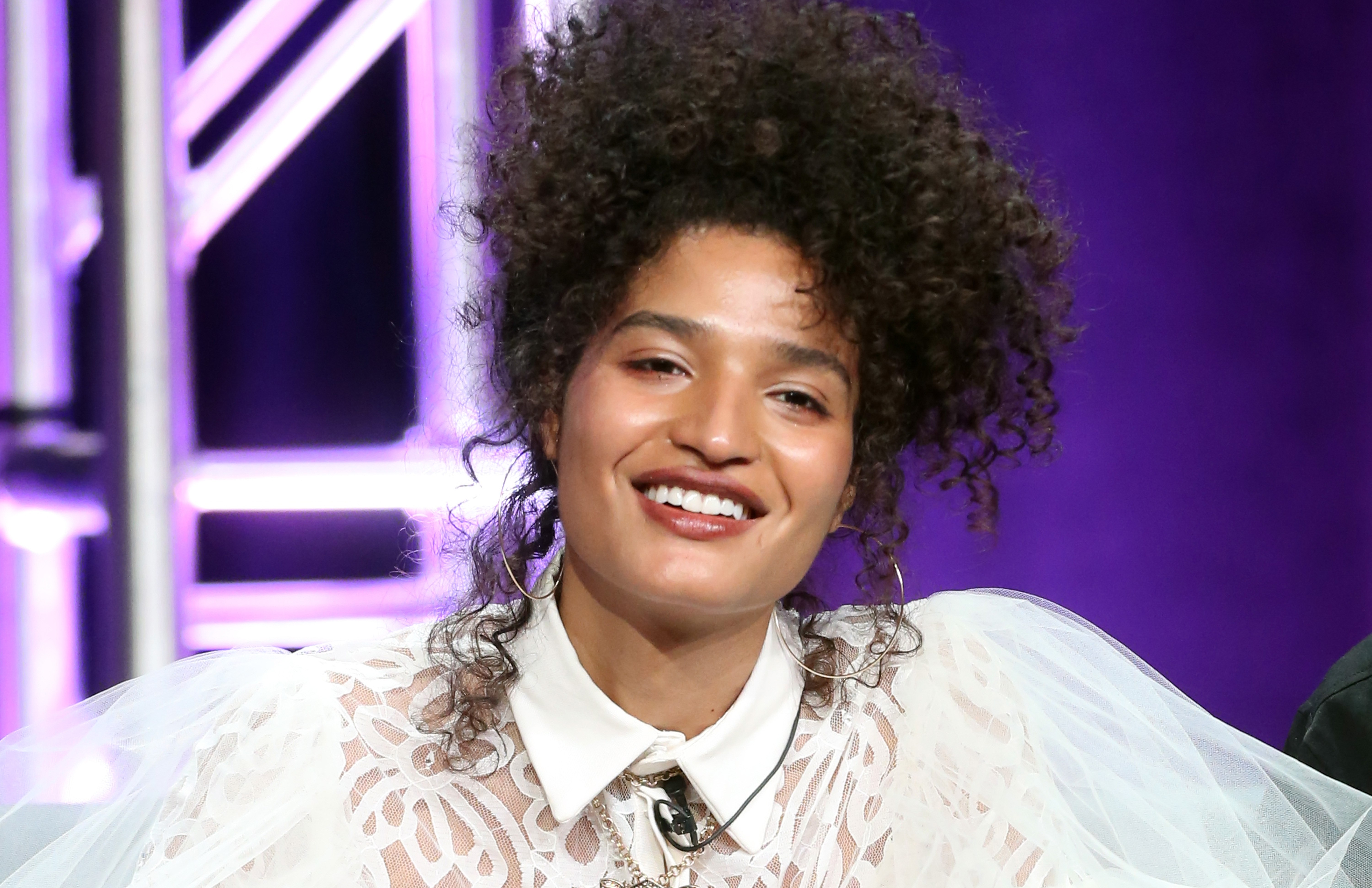 Trans actress Indya Moore speaks onstage at the 'Pose' panel during the FX Network portion of the Summer 2018 TCA Press Tour at The Beverly Hilton Hotel on August 3, 2018