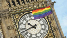 Big Ben with the Pride flag