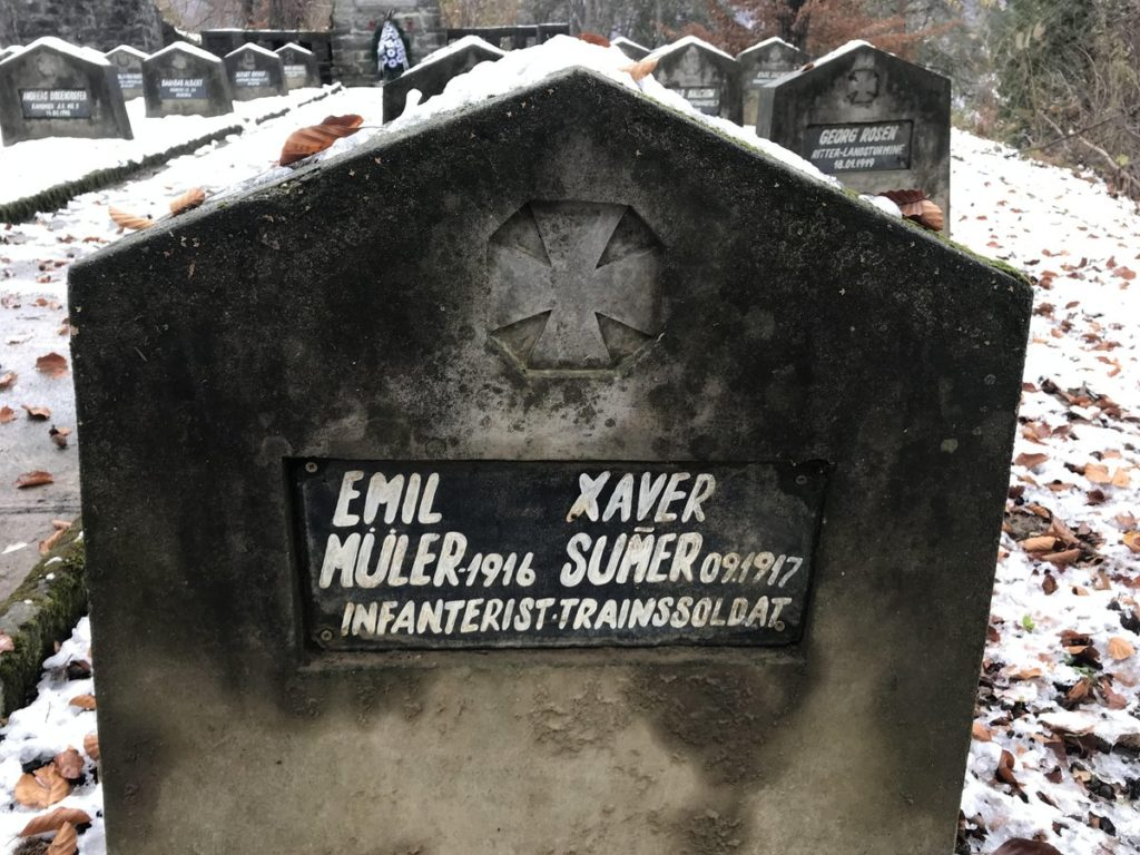 The soldiers' tomb stone that inspired the mystery.