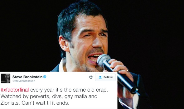 X Factor flop Steve Brookstein calls viewers 'perverts' and 'gay mafia'