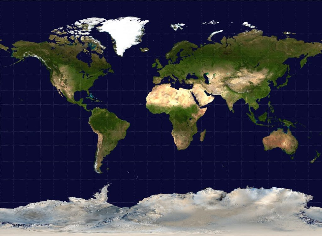 The Miller Projection of the World (Wikimedia Commons)