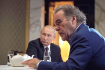 US film director Oliver Stone during an interview with the President of Russia Vladimir Putin in the Moscow Kremlin.