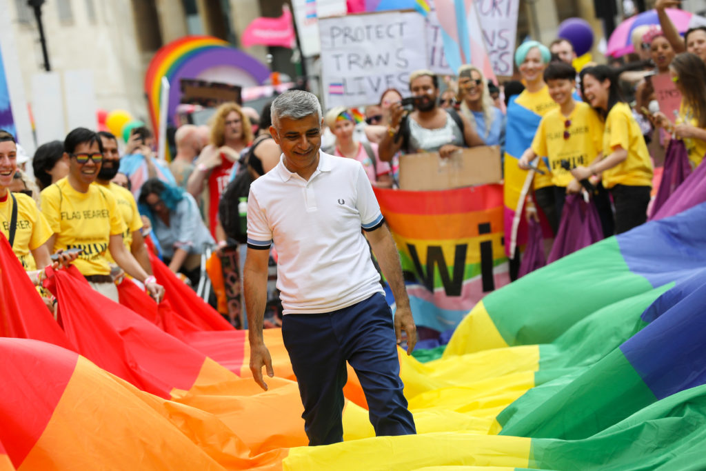 London Mayor Sadiq Khan during the parade at Pride in London 2019 on July 06, 2019 in London, England.