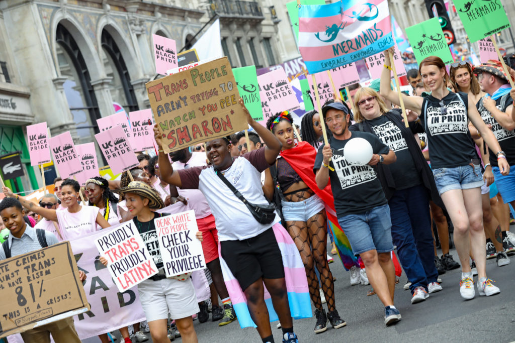 Transphobia and homophobia are linked: Parade goers during Pride in London 2019 on July 06, 2019 in London, England.