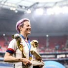 Megan Rapinoe with world cup trophy