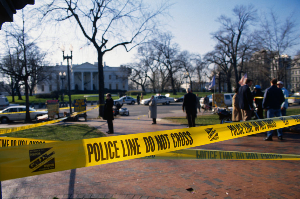 Police tape representing a rise in hate crimes in the USA