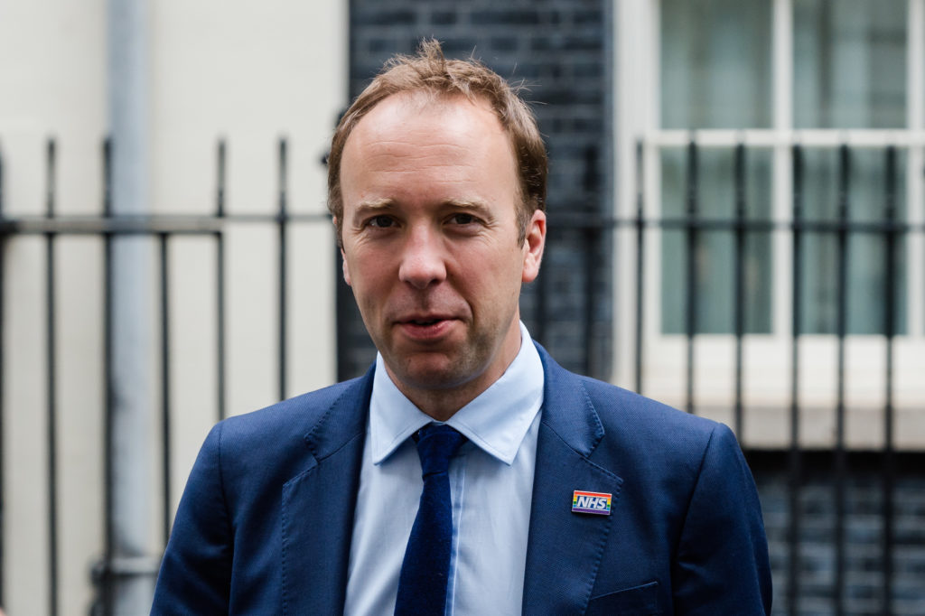Secretary of State for Health and Social Care Matt Hancock leaves 10 Downing Street after the weekly Cabinet meeting on 25 June, 2019