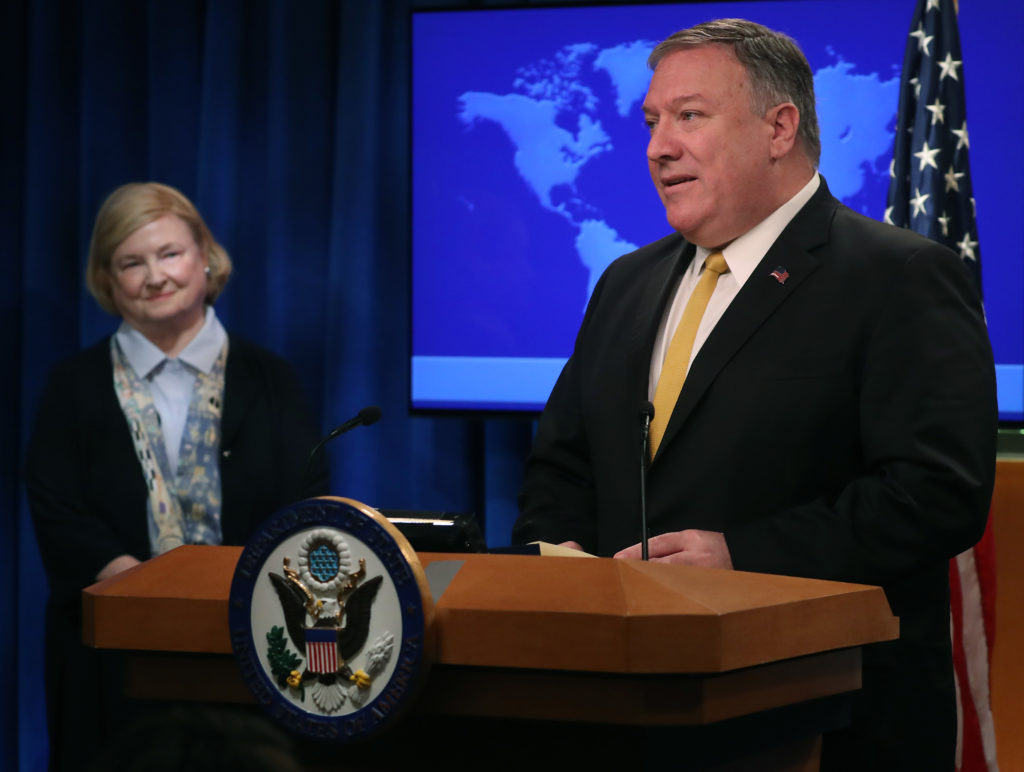 """US Secretary of State Mike Pompeo is joined by commission chair Harvard Professor Mary Ann Glendon while announcing the formation of a commission to redefine human rights, based on """"natural law and natural rights"""", during a news conference at the Department of State, on July 8, 2019 in Washington, DC."""