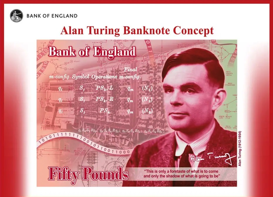 Alan Turing unveiled as the face of the new £50 note