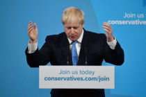Newly elected British Prime Minister Boris Johnson speaks during the Conservative Leadership announcement at the QEII Centre on July 23, 2019 in London, England.